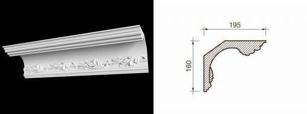 Карниз гипсовый с рисунком КР-2
