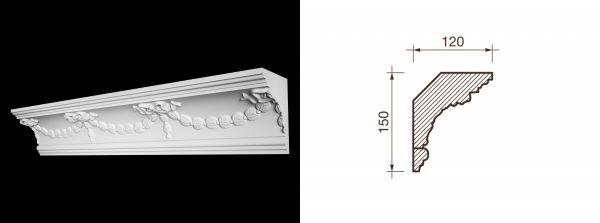 Kарниз гипсовый с рисунком КР-20