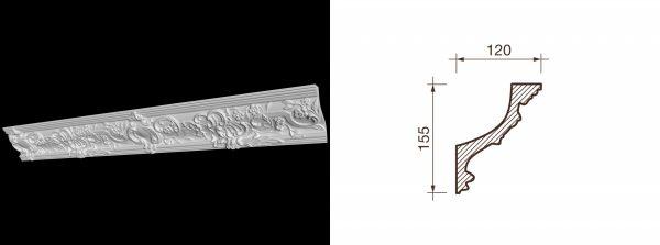 Карниз гипсовый с рисунком КР-8